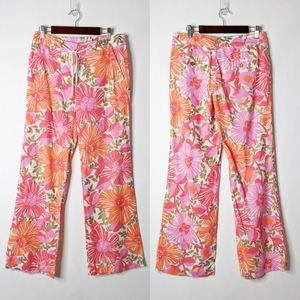 Lilly Pulitzer Wide Leg Floral Palm Bch Fit Pants